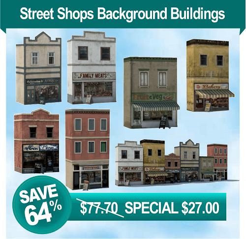 railroad model shops - printable background buildings