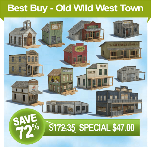 old wild west models - paper plans western town buildings