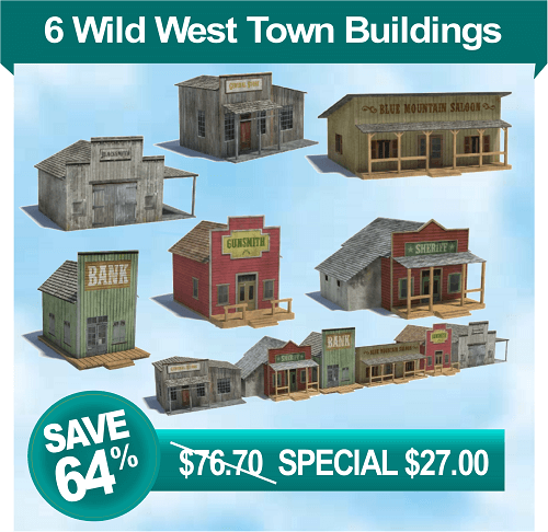 6 old west models - sheriff office - saloon - blacksmith