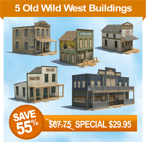 5 printable old wild western town building scale models