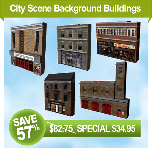 model train buildings - fire station background scenery
