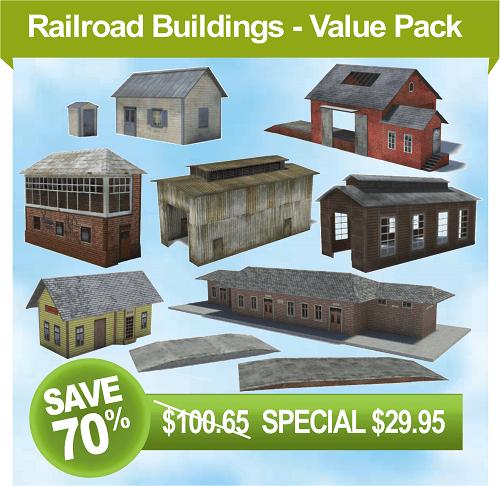 scale model railroad buildings - signal box, railway station