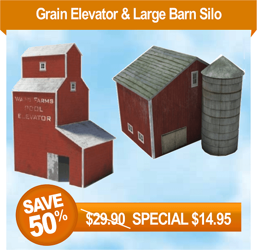 construct model train farm buildings - grain elevator, barn