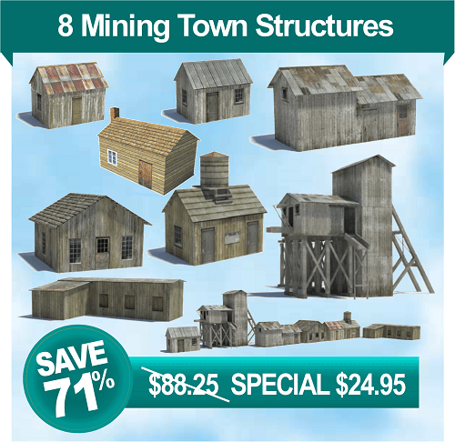 printable templates - old mining town model buildings
