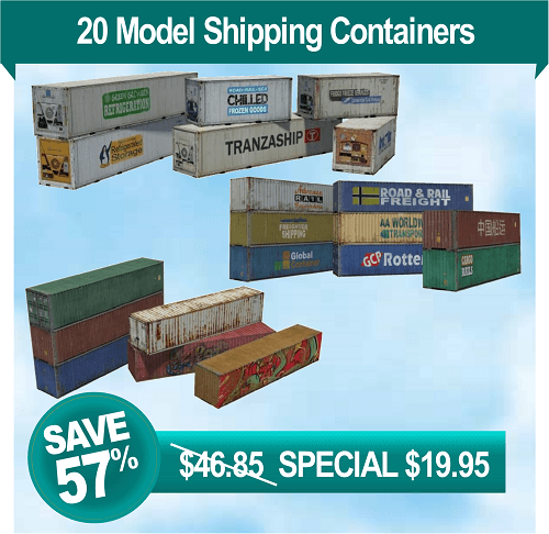 download - print - build scale paper model shipping containers