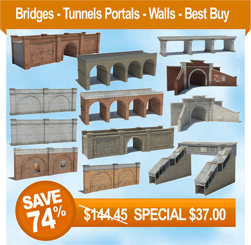 printable scale models - train tunnels, wall, bridges