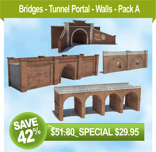 scale railroad models - wall - tunnel portal - bridges