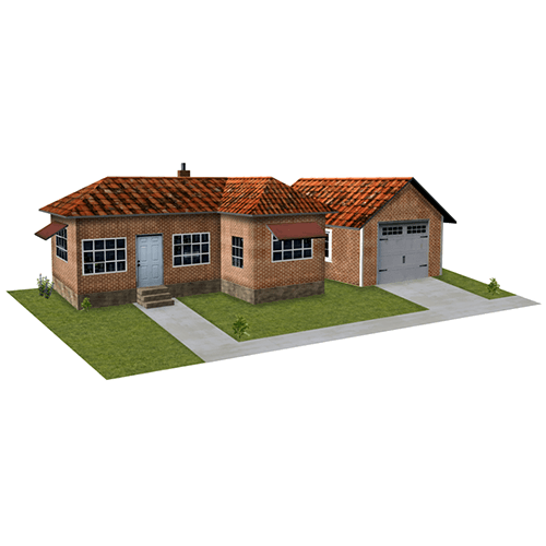 House - Brown Brick with Garage