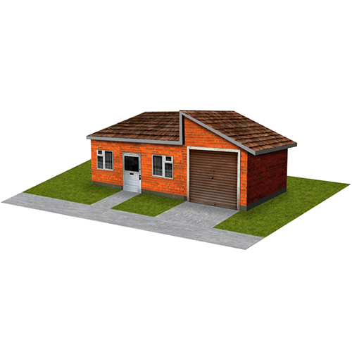 Orange Brick House with garage