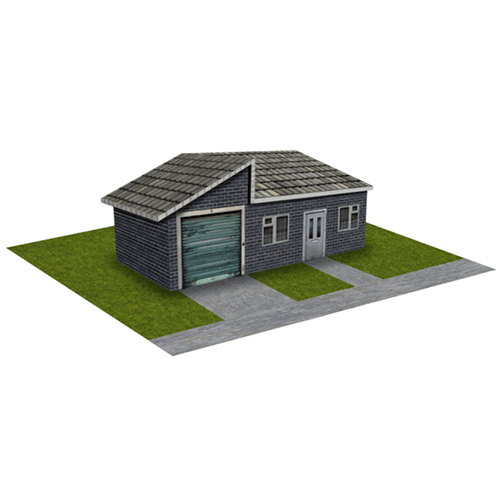 Gray Brick House with garage
