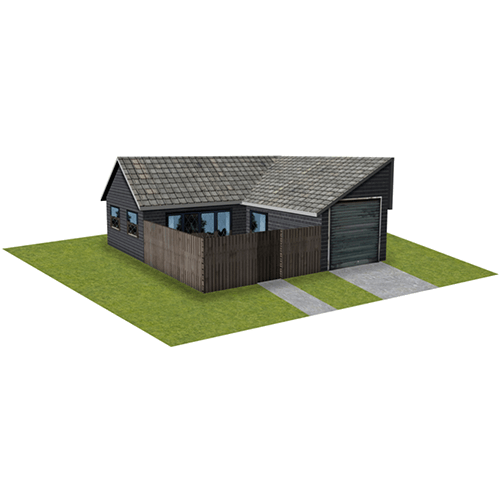 Gray Brick House with fence