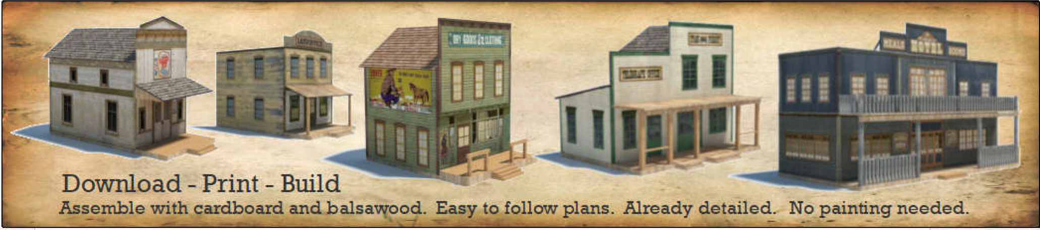 construct 5 old west town scale paper model buildings