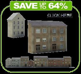 terraced houses paper models railroad buildings