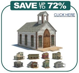 printable old wild west railroad building models
