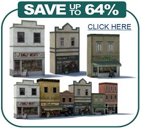 scale models printable railroad buildings - shops