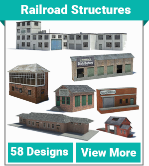 print scale model railroad buildings / structure designs