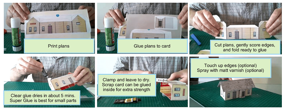 how to build miniature HO scale model houses from cardboard