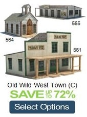 old west paper models church schools stage depot