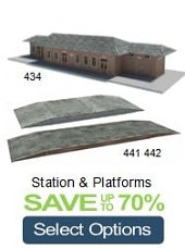 model train station and platforms cardboard