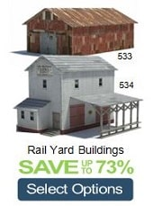 rail yard buildings card scale miniature models