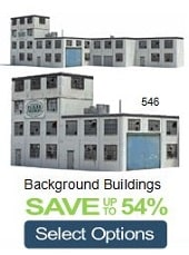 miniature background industry buildings for model train layouts