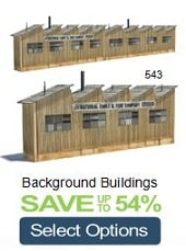 replica railroad warehouses background structures