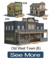 old western town model buildings saloon