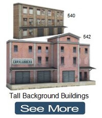 tall industrial warehouses for model railroads