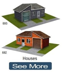 scale model train brick houses cardstock
