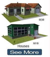 construct green cardboard replica houses
