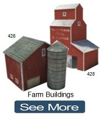 farm buildings ho railways paper cardstock