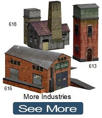 mining town paper buildings ho scale